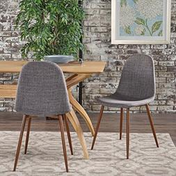Resta Mid Century Modern Light Grey Fabric Dining Chairs wit