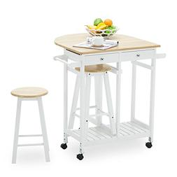 Mecor Rolling Kitchen Island Cart Trolley with 2 Stools and