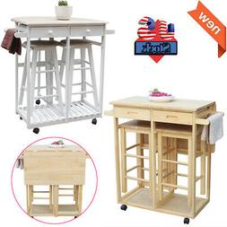 Rolling Kitchen Island Trolley Cart Wood Home Dining Table S