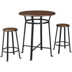 Round 3pc Metal Pub Set with Wood Top Table Bar Stools Indus