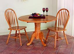 Sunset Trading 3 Piece Round Drop Leaf Dining Set with Arrow