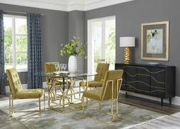 ROUND GLASS GOLD METAL DINING TABLE GREEN VELVET CHAIRS DINI