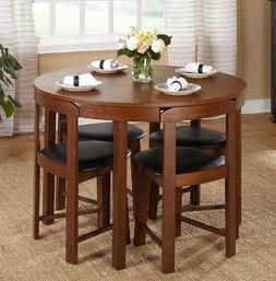 Round Walnut Dining Set Modern Century Banquet Table Top Con