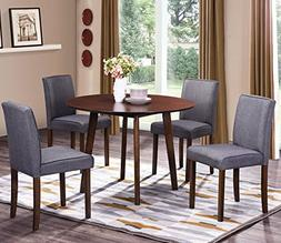 Harper&Bright Designs Round Wood Dining Table with 4 Fabric