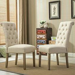 Roundhill Furniture Habit Solid Wood Tufted Parsons Dining C