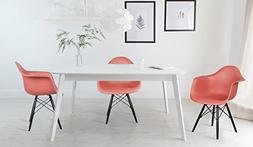 GIA Russet Red Dining/Office Arm Chair - Eames Style - Wood
