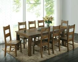 Rustic Country 9-Piece Dining Set Solid Wood Table & Side Ch