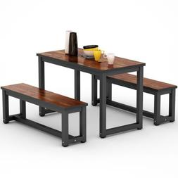 Rustic Dinning Table Set Industry Wood 2 Benches and 1 Recta
