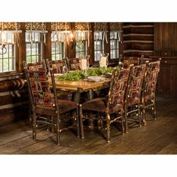 """Rustic Hickory Trestle Style 72"""" Dining Table with 8 Fabric"""