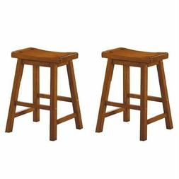 """Lexicon Saddleback 24"""" Solid Wood Counter Stool in Oak"""