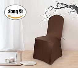 Deconovo Set of 12pcs Brown Color Stretch Chair Covers Spand