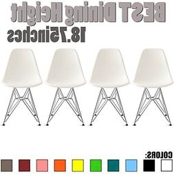 2xhome Set of Four  - Eames Style Side Chair Chromed Wire Le
