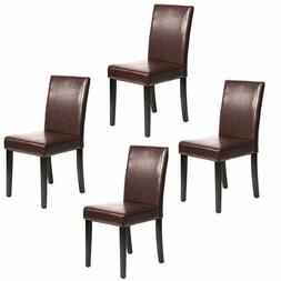Set of 2 Brown Leather Contemporary Elegant Design Dining Ch