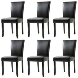 Set of 2/4/6 Pcs Faux Leather Dining Chairs High Back Seat K