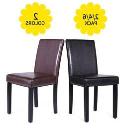 Set of 2/4/6 pcs Leather Elegant Design Dining Chairs Home B