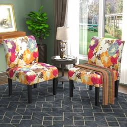 Set of 2 Armless Dining Accent Chair Upholstered Tufted Sofa