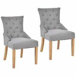 Set Of 2 Armless Dining Chairs Elegant Tufted Design Fabric