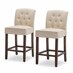 Set of 2 Beige Tufted Fabric Upholstered Barstool Counter He