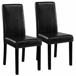 Set of 2 Elegant Design Leather Contemporary Dining Chairs H