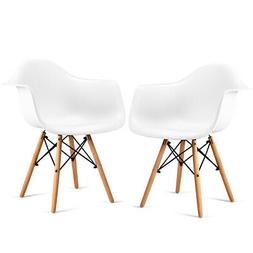 Set of 2 Chair Mid Century Modern Molded White Dining Side A