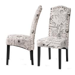 Set of 2 Classic Fabric Dining Room Chairs with Solid Wood L