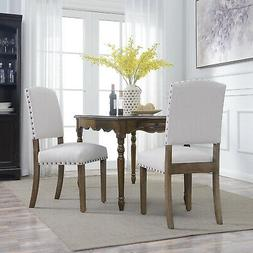 Set of  Classic Parson Dining Chairs Living Room Nailhead Tr