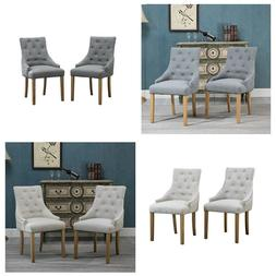 Set of 2 Dining Accent Chair Curved Shape Button Tufted Fabr