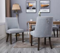 Set of 2 Dining Chair w/Pull Ring Elegant Nailhead Fabric Di