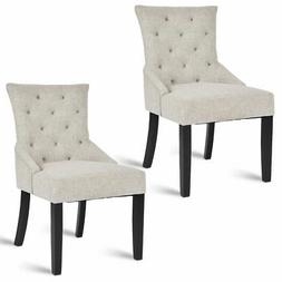 Set of 2 Dining Chairs Armless Chair Tufted Design Fabric Up