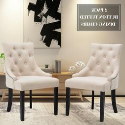 Set of 2 Dining Chairs Elegant Button Tufted Beige Pattern F
