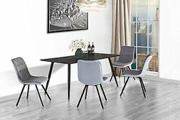 Set of 2 Dining Chairs Fabric Kitchen Chairs w/ Sturdy Metal