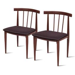 Set Of 2 Dining Chairs Fabric Upholstered Armless Steel Home