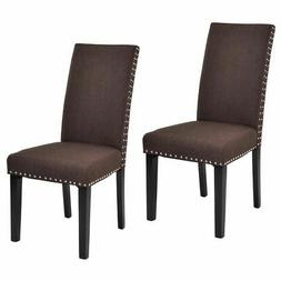 Set of 2 Dining Chairs Fabric Upholstered Armless Accent Hom