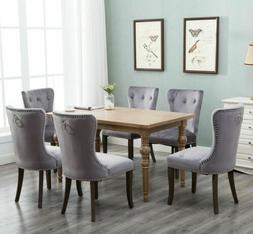 Set of 2 Dining Chairs Wood Button Tufted Chair Upholstered