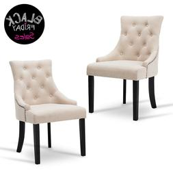 Set of 2 Dining Fabric Accent Chairs Elegant Tufted Beige Pa