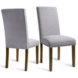 Set of 2 Fabric Dining Chairs with Copper Nails and Solid Wo