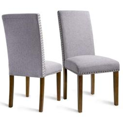 Set of 2 Fabric Dining Chairs Elegant Leisure Armless Chairs