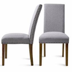 Gray Dining Chairs 2PCS Elegant Leisure Armless Kitchen Dini