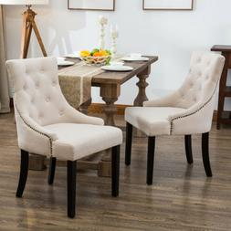 Set of 2 Fabric Dining Chairs Elegant Button Tufted Beige Pa