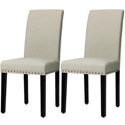 Set of 2 Fabric Dining Chairs Upholstered w/ Nailhead Trim a