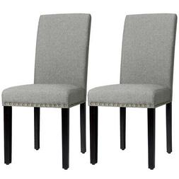 Set of 2 Fabric Dining Chairs Upholstered w/Nailhead Trim &