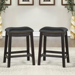 Set of 2 Kitchen Dining Side Saddle Counter Stool Chair Blac