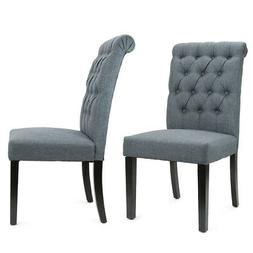 Set of  Linen Fabric Wood Accent Dining Chair Tufted Modern