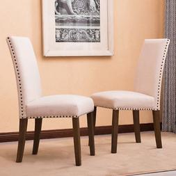Set of  Modern Contemporary Elegant Linen Parson Dining Chai