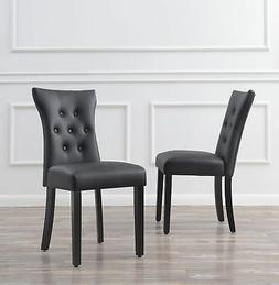 Set of  Modern Dining Chair Faux Leather Nailhead Upholstere