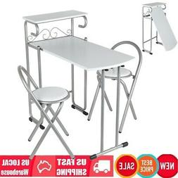Modern Folding Couple 1 Table with 2 Chairs Set Protable Din