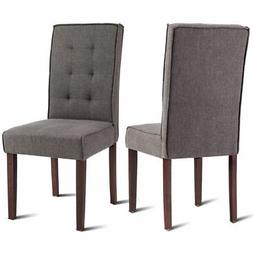 Set of 2 Parson Dining Chair Linen Fabric Upholstered with S