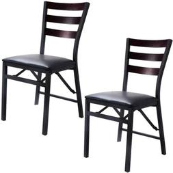 Set of 2 Portable Folding Dining Chairs Wooden Metal Home Re
