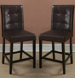 Set of 2 PU Leather Counter Height Black Dining Chair
