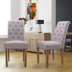 Set of 2 Solid Wood Padded Tufted High Back Parsons Dining C